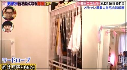 藤田ニコルの自宅マンションの衣裳部屋