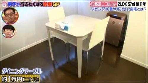 藤田ニコルの自宅マンションのダイニング