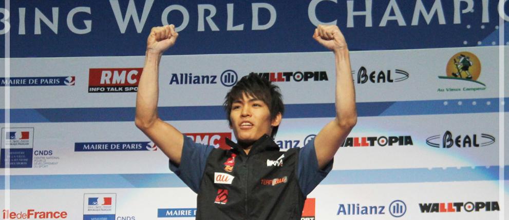 IFSCクライミング世界選手権2016 のボルダリングで優勝した楢崎智亜さん