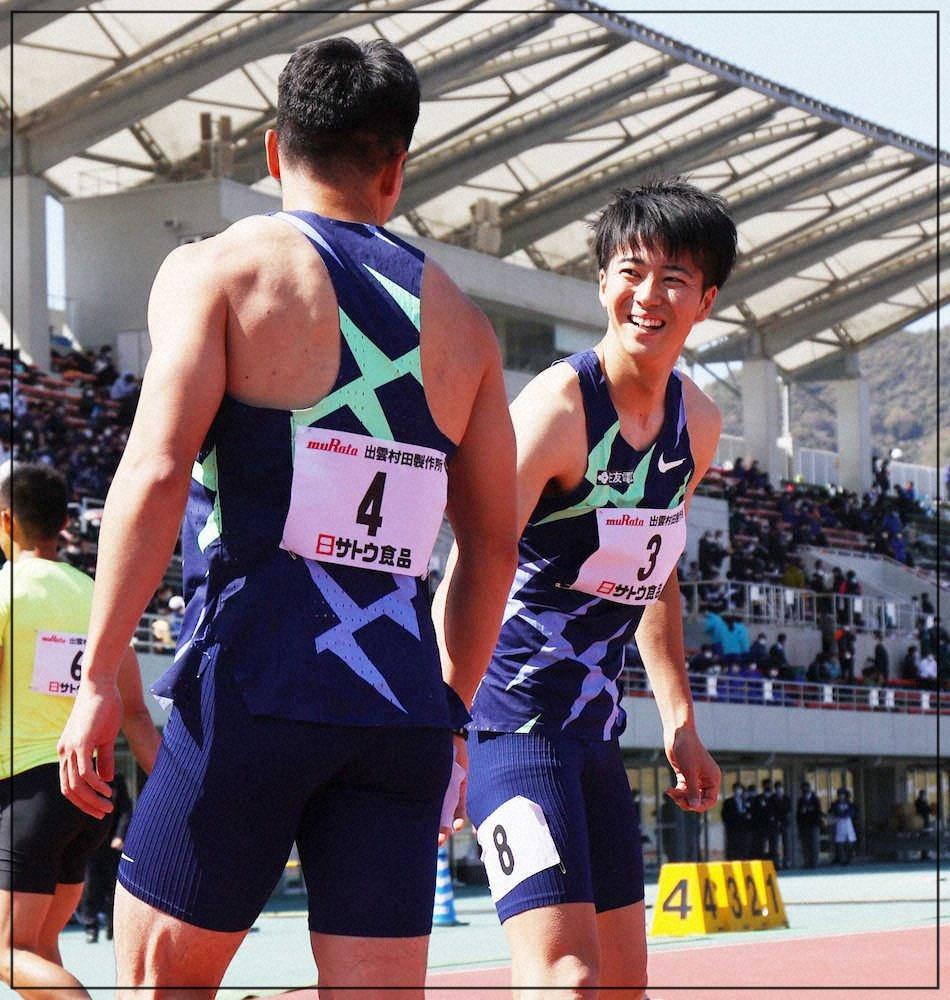 大会中に他の選手とコミュニケーションを取る多田修平選手