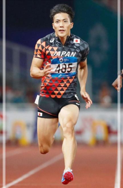 ジャカルタでのアジア大会100m予選を走る山縣亮太さん。