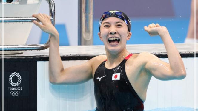 優勝を確認し喜ぶ大橋悠依さん。